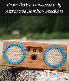 From Perks: Unnecessarily Attractive Bamboo Speakers