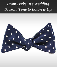 From Perks: It's Wedding Season. Time to Bow-Tie Up.