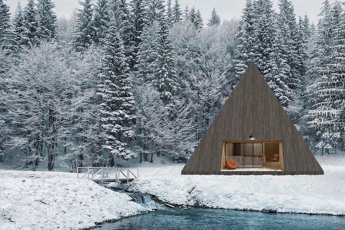 minimal hut winter cabin