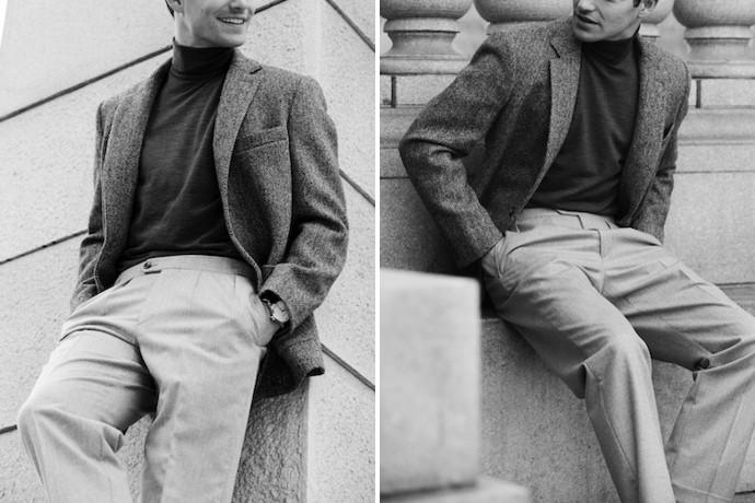 man wearing hertling trousers
