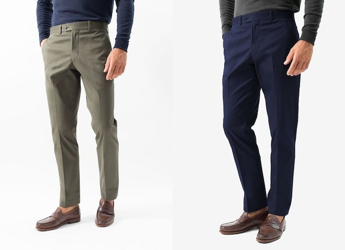 Hertling olive and navy chinos