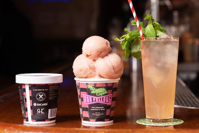 OddFellows boozy capsule strawberry kush ice cream