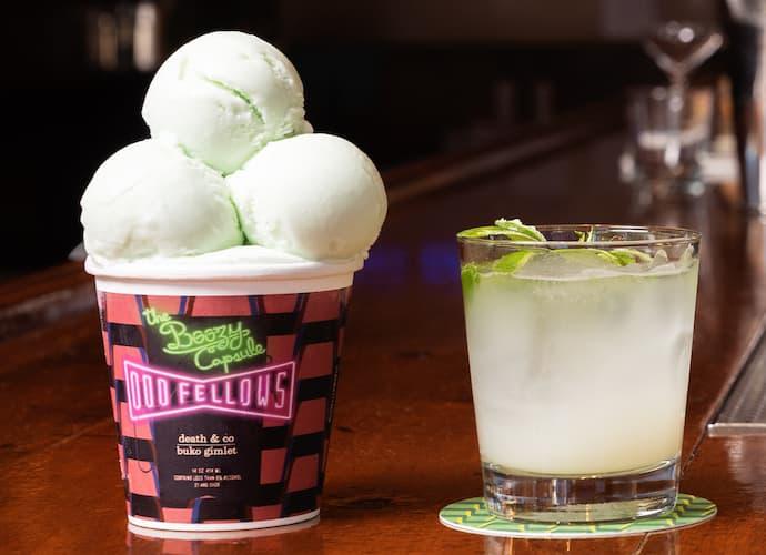 OddFellows boozy capsule gimlet ice cream