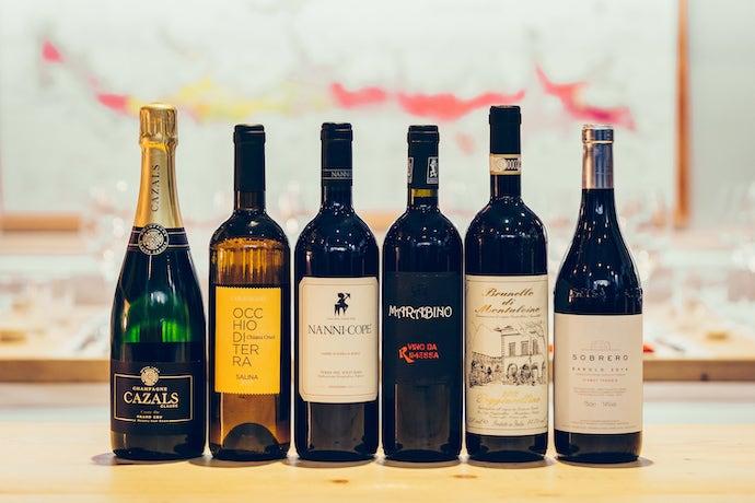 Roscioli six italian wine bottles