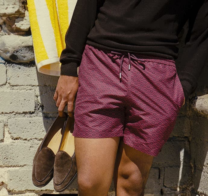 meriggi burgundy swim trunks
