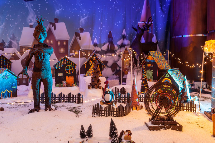 A Miniature Holiday Village Made Almost Entirely of Chocolate