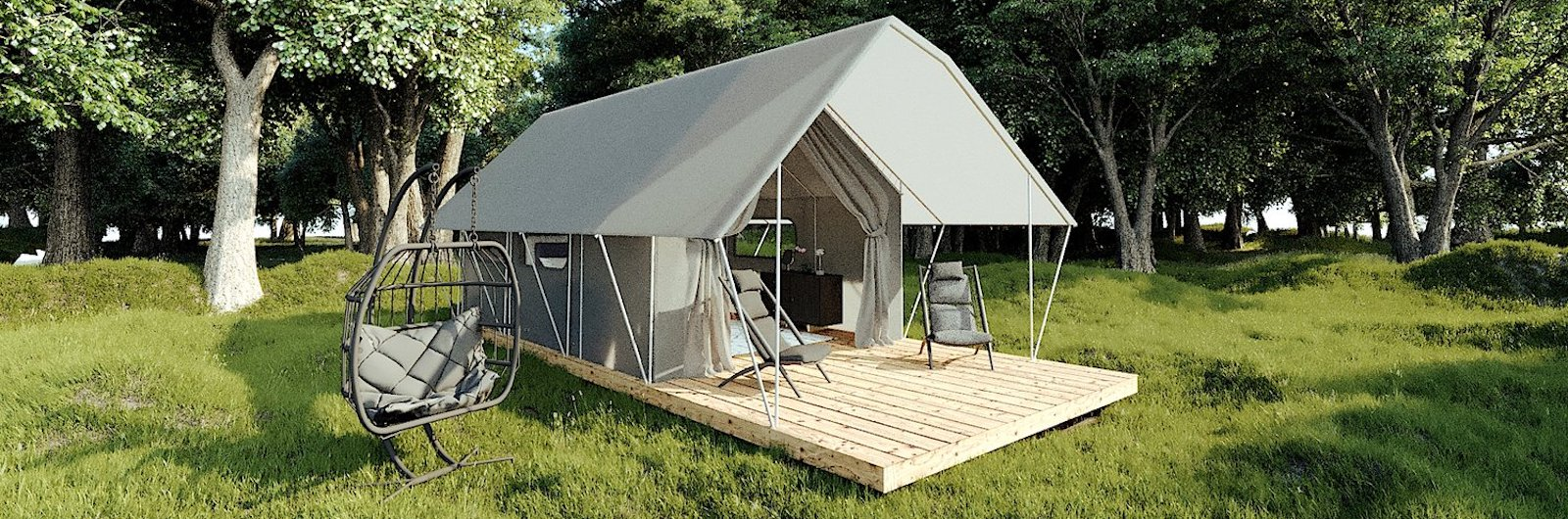 A Fully-Furnished Luxury Tent for Your Backyard. Or Wherever.