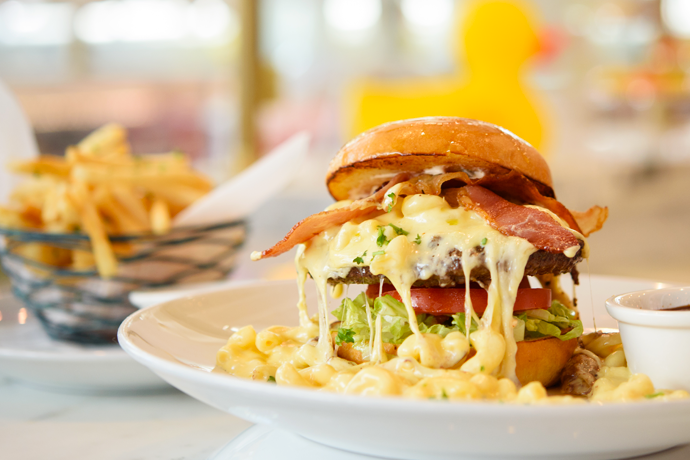 Two Floors Of Mac And Cheese Burgers Chocolate Pizza Burger Topped Food