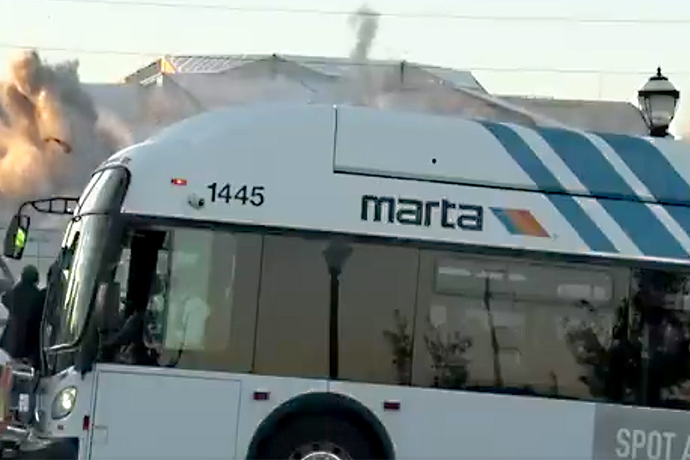 This MARTA Bus Blocking a Georgia Dome Implosion Shot Is the Best Thing You'll See All Day