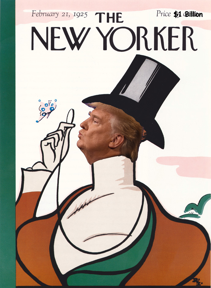 Fake First Ever New Yorker Cover Donald Trump in place of Eustace Tilley