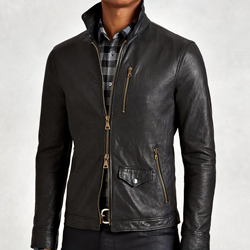 John Varvatos Wire Collar Leather Jacket