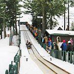Tobogganing onto Lake Placid