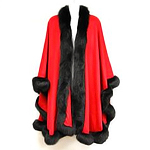 Red Cashmere Cape with Black Mink Trim