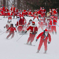 Skiing with Hundreds of Santas