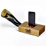 An iPhone Dock with a Buffalo Horn