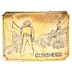 His Gold-Tone Gunsmoke Belt Buckle